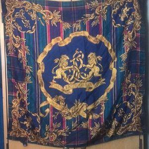 """Ralph Lauren silk lion crest scarf/shawl 35""""x 34"""""""